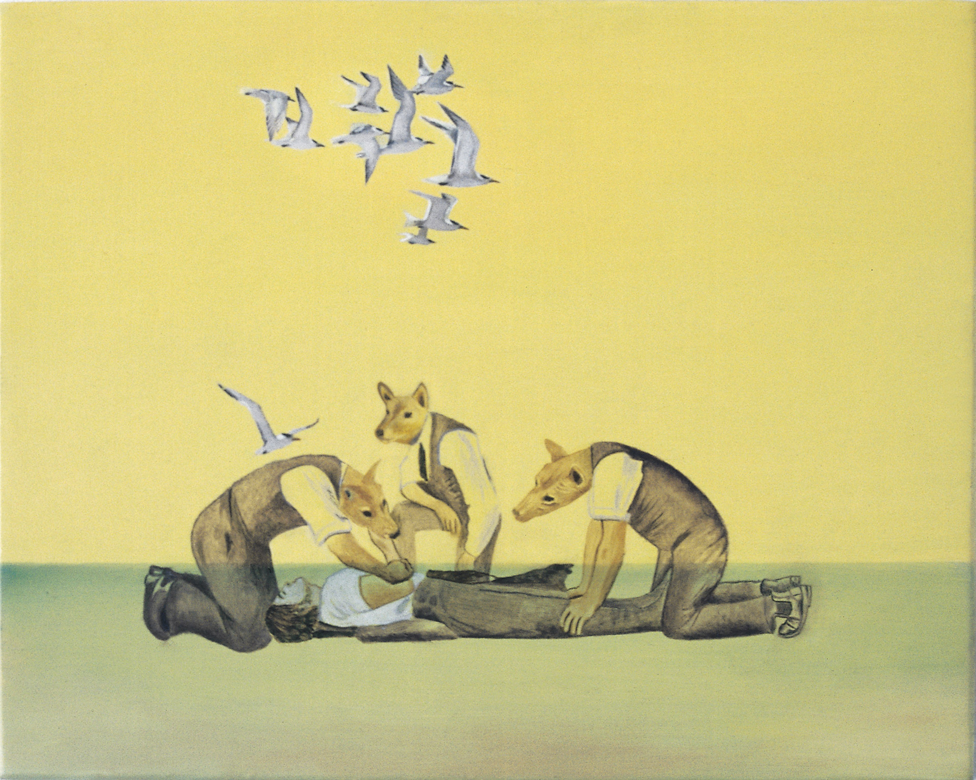 Artificial respiration is a painting by Australian artist Madeleine Kelly of dingo headed people shown MCA in primavera 2005 Milani Gallery