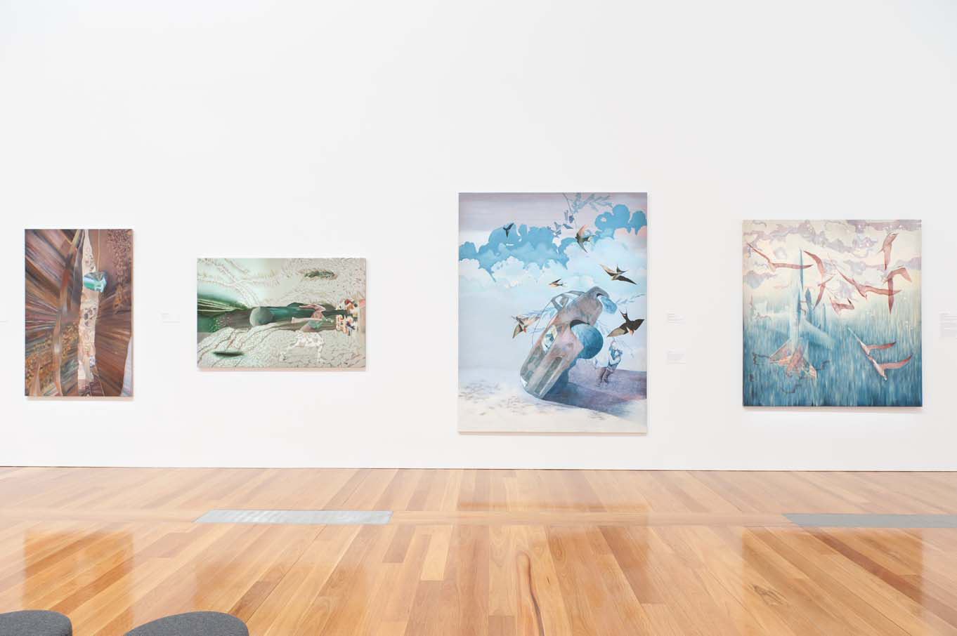Installation view of paintings in Ten Years of Contemporary Art: The James C Sourris Collection.