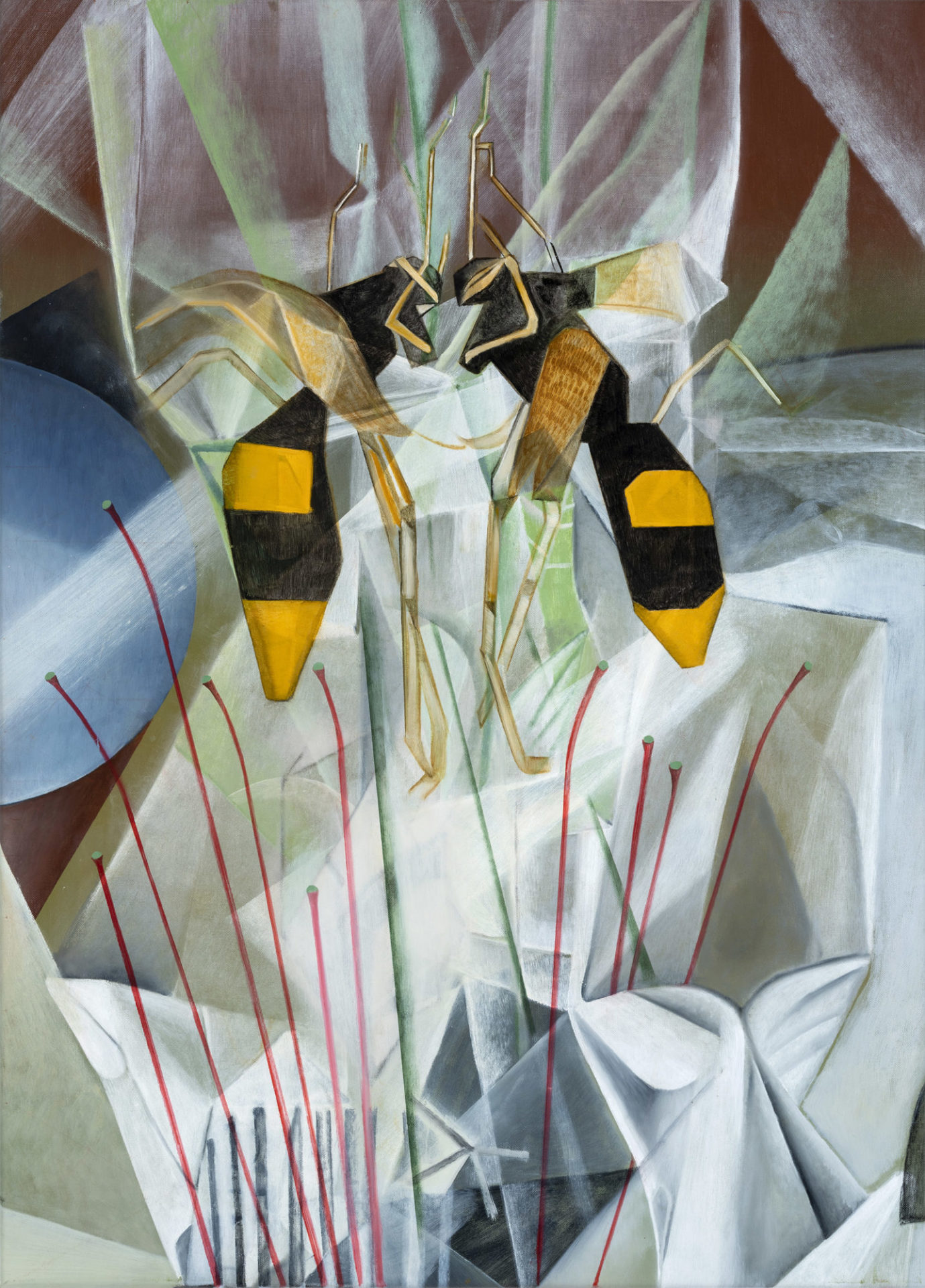 1. Window bandit is a painting of potters wasps by madeleine Kelly shown at Ipswich City Gallery Milani Gallery