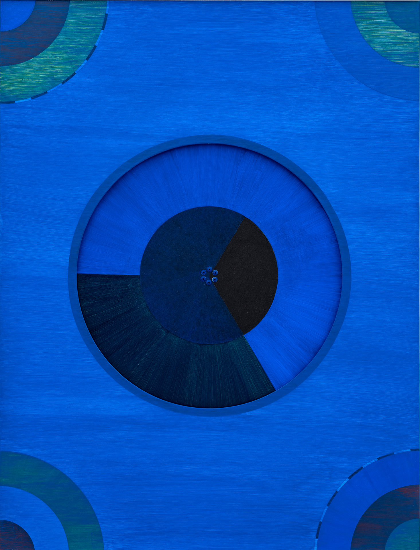 Black and Blue kinetic painting of a single spinning disk made by Madeleine Kelly and shown in Spin out, spun in Milani Gallery