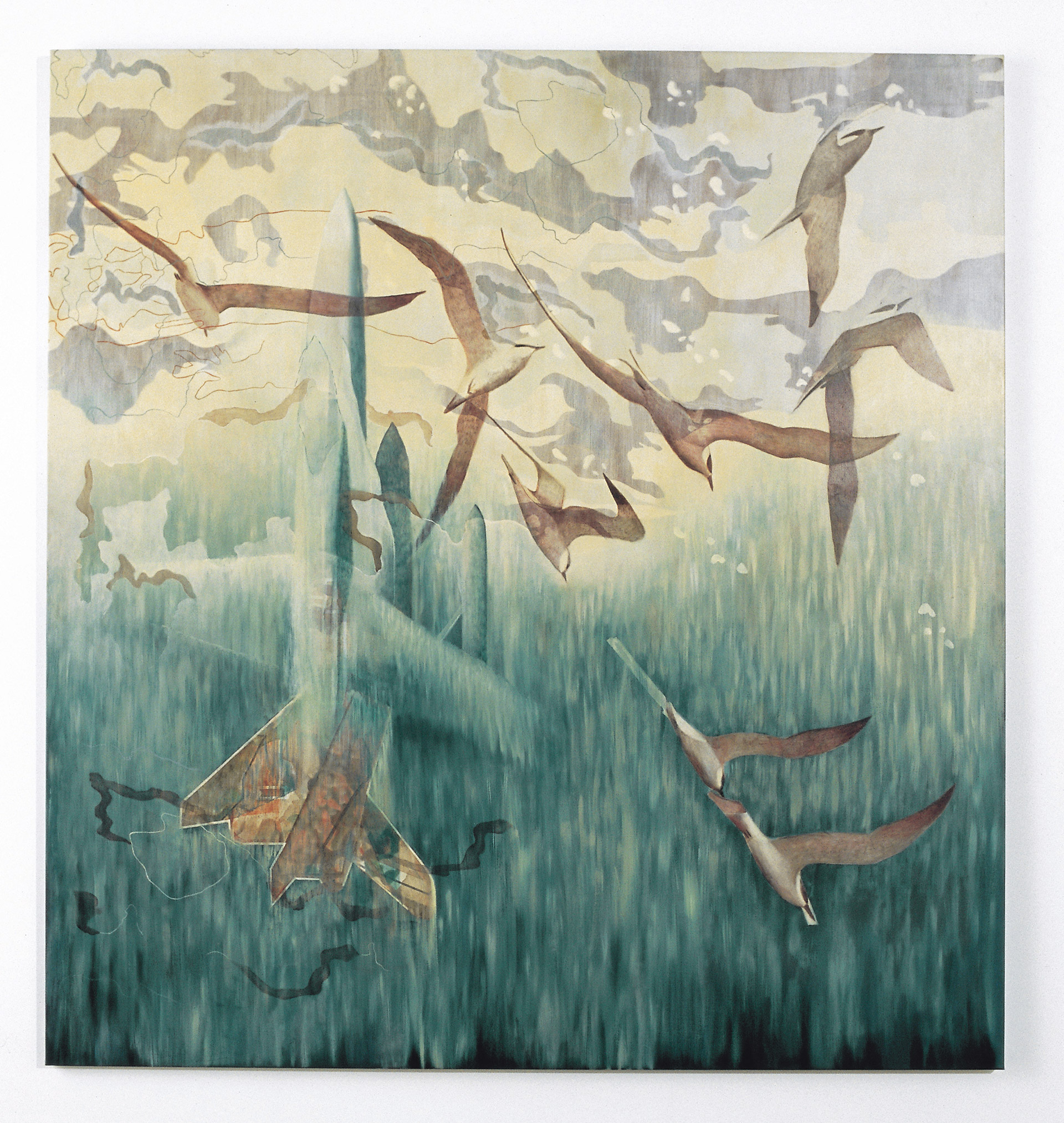 Choreography of war reportage is a painting by Australian artist Madeleine Kelly shown in Sourris QAGOMA and Primavera 2005 MCA