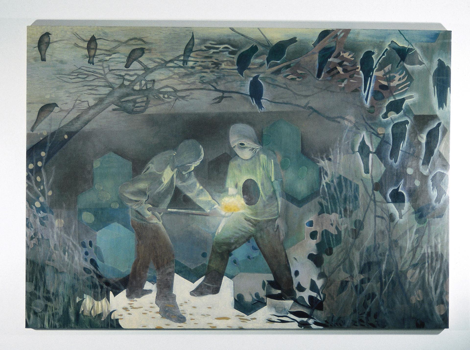 Coalface is a painting by Australian artist Madeleine Kelly Winner, Churchie Exhibition of Emerging Art, Judge: Dr Rex Butler
