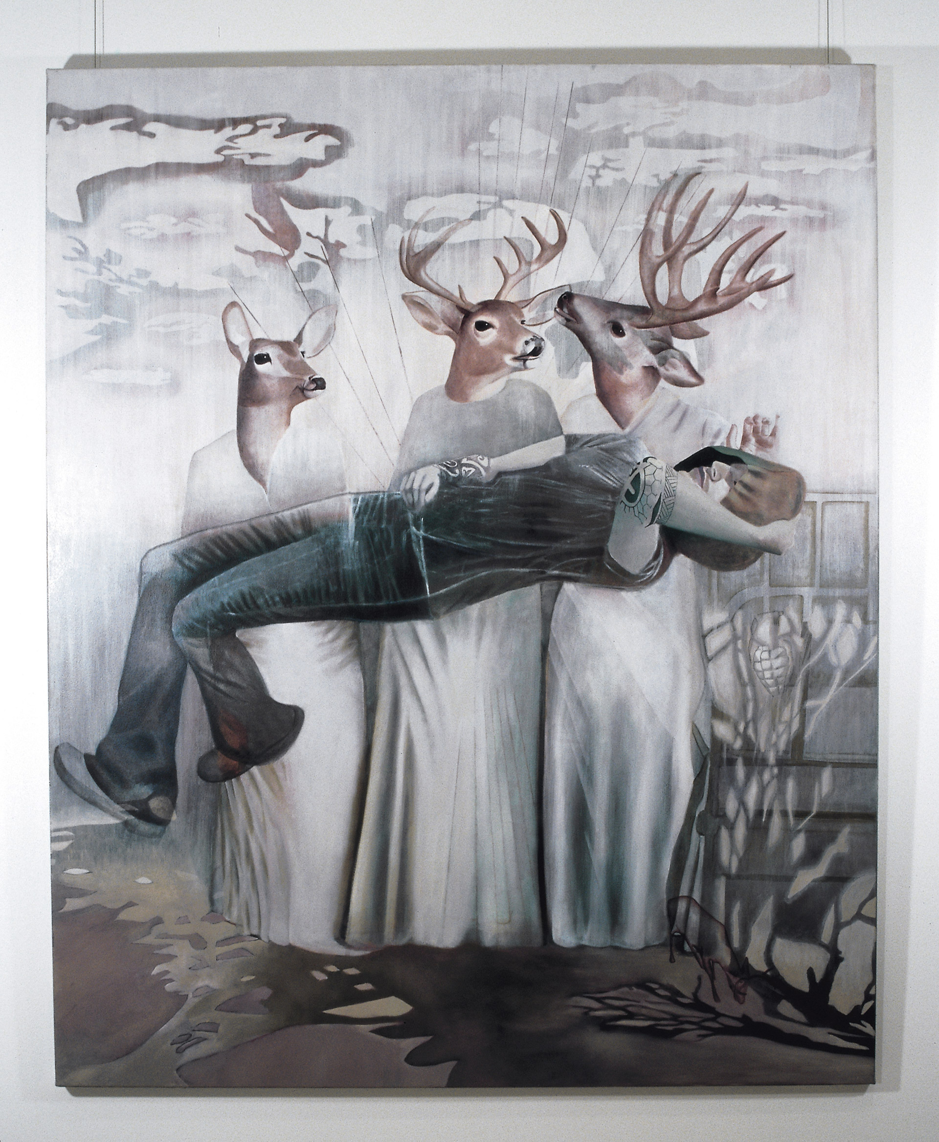 Lifting a helpless patient is a painting by Australian artist Madeleine Kelly of deer headed people MCA Primavera 2005 collection Artbank