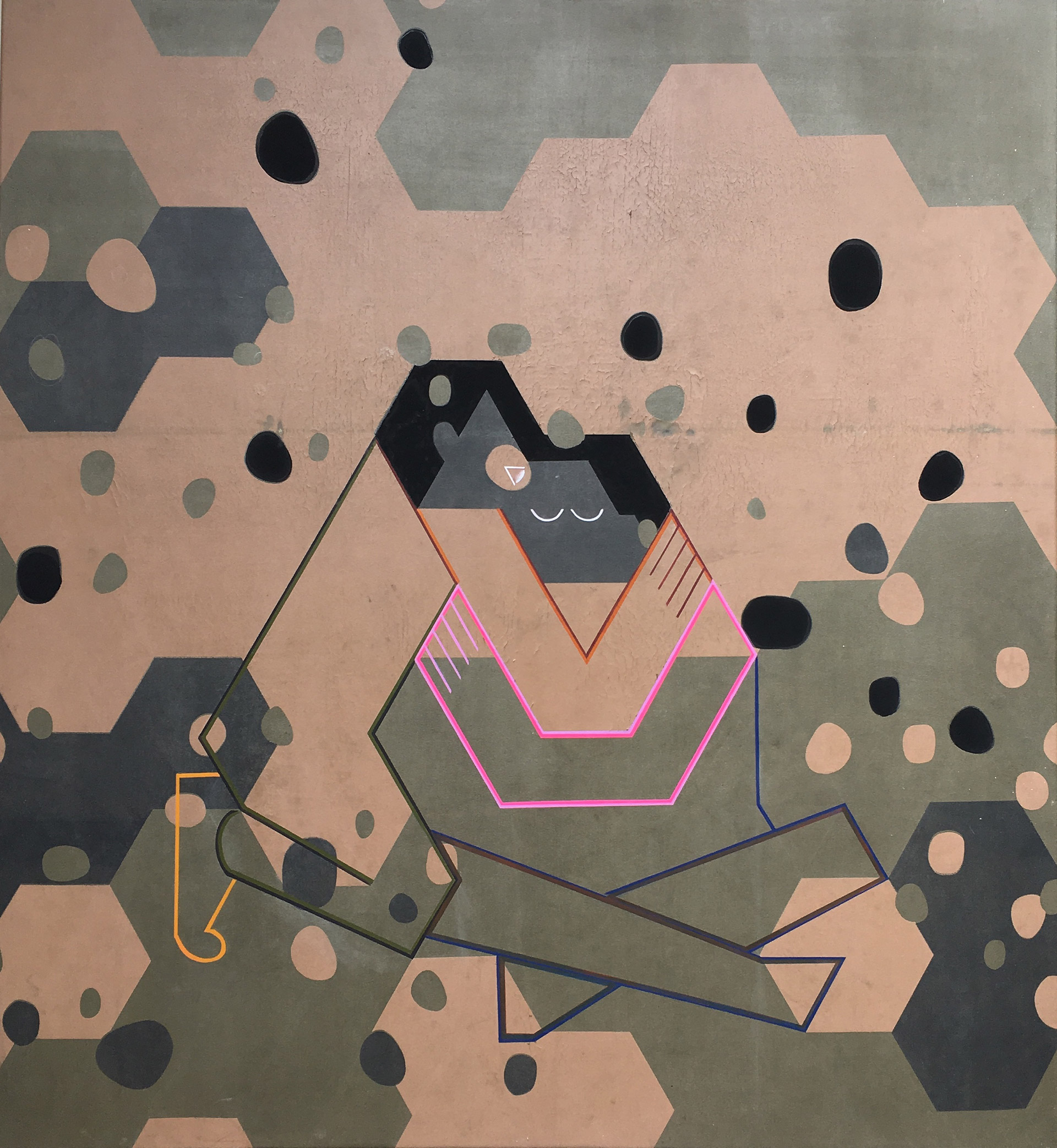 2. How to look at a hexagon is a painting by Madeleine Kelly on army tarpaulin two people embrace shown C3 Contemporary art space Milani GalleryMadeleine Kelly How to look at a hexagon 2018 acrylic and oil on tarpaulin 115 x 125 cm