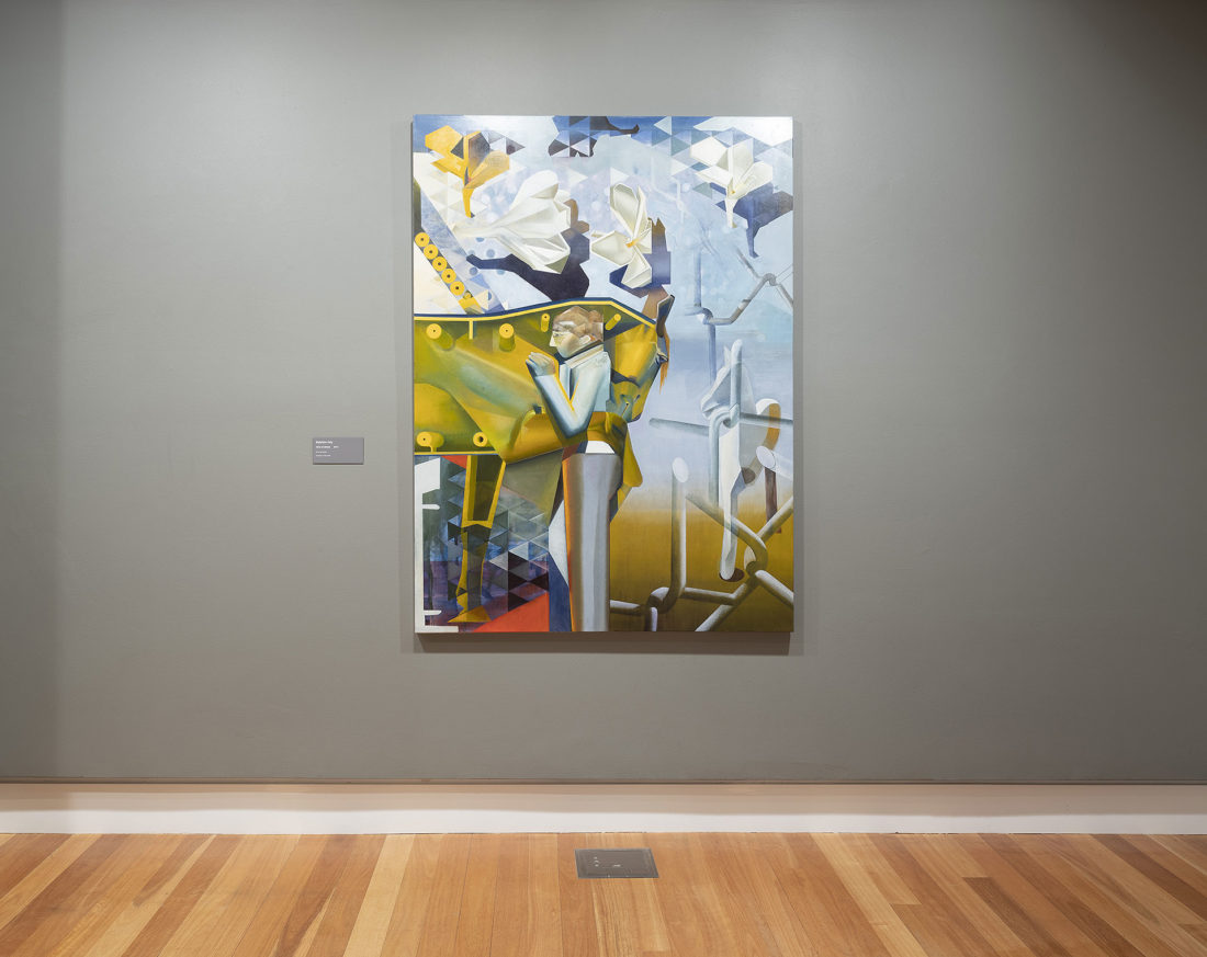 5. Axis of Dream is a painting of a girl embracing a horse by madeleine Kelly shown at Ipswich Art Gallery Milani Gallery