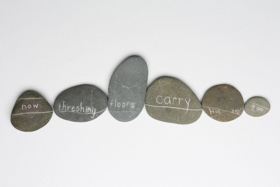 Madeleine Kelly Rock Poem 2013 engraved beach stone with cross contour of quartz