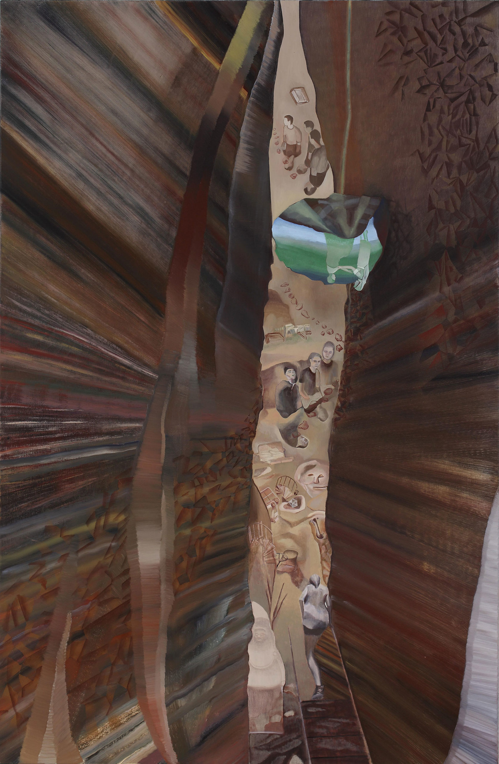 Protean world is a crevice painting by Australian artist Madeleine Kelly Ten Years of Contemporary Art: The James C Sourris, QAGOMA collection Milani