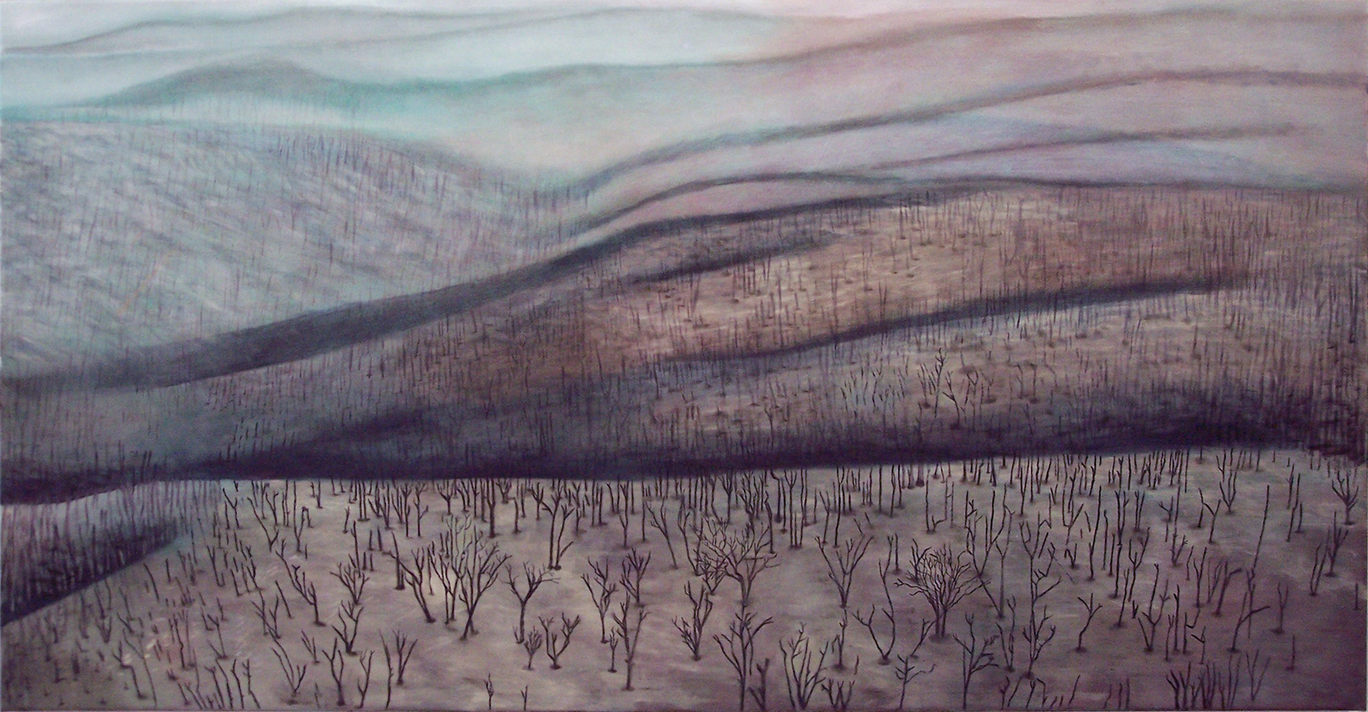 Madeleine Kelly The Charcoal Forest 2006 Oil on polyester 68 x 135cm