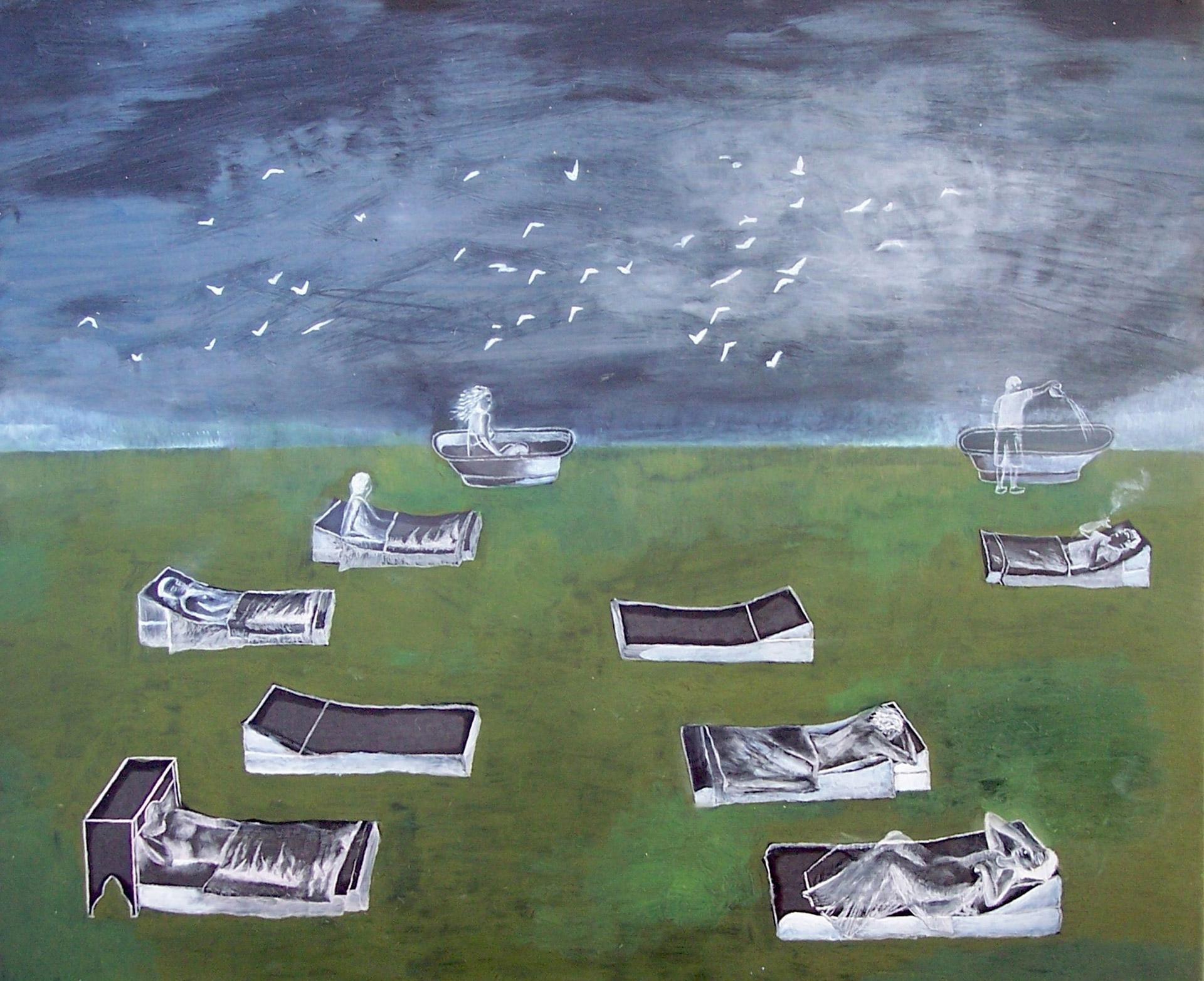 Madeleine Kelly Sunbath 2005 Oil on gesso board 23 x 28cm